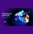 technical support concept for web banner vector image vector image