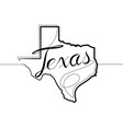 texas state one continuous line icon vector image vector image