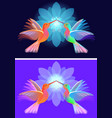 two hummingbirds with flowers vector image