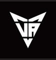 va logo monogram with back drop shape logo design vector image vector image