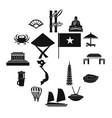 vietnam travel icons set simple style vector image