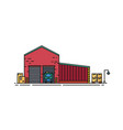 warehouse built of red brick with roller doors and vector image