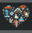 winter sport extreme resort snowboard and skis vector image