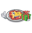 with gift carpaccio isolated with in mascot vector image vector image