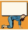 Woman on all fours holding a poster vector image vector image