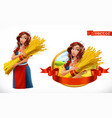 woman with a sheaf of wheat peasant farmer vector image