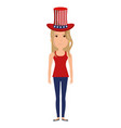 woman with usa hat vector image