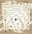 doodle arrows and symbols on vintage grunge vector image