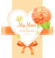 orange hydrangea cherry blossom flowers poster vector image