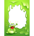 A green border template with a green monster vector image vector image