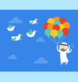 arab businessman flying with balloon in sky vector image
