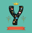 black letter y with golden crown and floral decor vector image