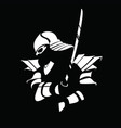 black white samurai figure with sword vector image vector image