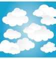Blue and white background of clouds icon vector image vector image