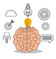 brain student school set elements design vector image