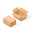 brown paper cardboard box open and sealed with vector image