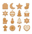 cartoon christmas cookies icon set vector image vector image