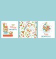 christmas new year set banner cards background vector image vector image