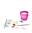 Color Paint Jars and Palette with Pink Bucket vector image vector image
