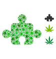 component composition of weed leaves vector image