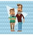 Couple of hipster men cartoon design vector image