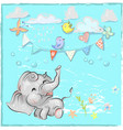 cute elephant with balloon hand drawn vector image