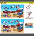 find differences game with transport vehicles vector image vector image