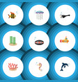 flat icon sea set of scallop fish periscope and vector image vector image