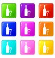 glass and bottle of wine set 9 vector image vector image