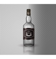 Glass brandy bottle with screw cap isolated o