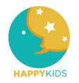 happy kids promotional emblem with moon and stars vector image
