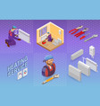 heating service isometric concept worker vector image vector image
