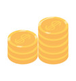 isometric money cash currency stack coins vector image