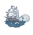 kraken attacking sailing galleon doodle art color vector image vector image