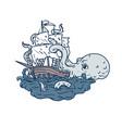 kraken attacking sailing galleon doodle art color vector image