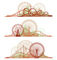 lines of roller-coaster and ferris wheel vector image
