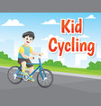 little boy cycling vector image vector image