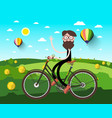man on bicycle on field with hey heaps and hot vector image