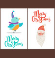 merry christmas bird and claus vector image vector image