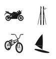 motorcycle mountain skiing biking surfing with vector image vector image