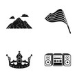 mountain flag and other web icon in black style vector image vector image