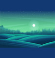 night forest landscape meadow or field pine vector image