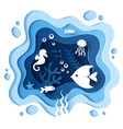 paper cut style underwater sea cave coral reef vector image vector image
