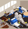 paper production isometric composition vector image vector image