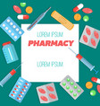 pharmacy poster with flat icons vector image vector image
