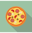 Pizza Flat Icon with Long Shadow vector image vector image
