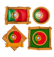 portugal flag on round and square badges vector image