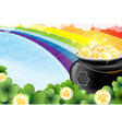 Rainbow and pot with gold vector image