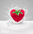 Raspberry heart with milk vector image vector image