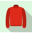 Red warm sweater icon flat style vector image